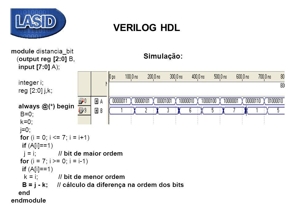 VERILOG HDL Simulação: module distancia_bit (output reg [2:0] B,